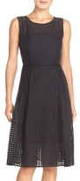 Ellen Tracy Women's Windowpane Organza Fit & Flare Dress