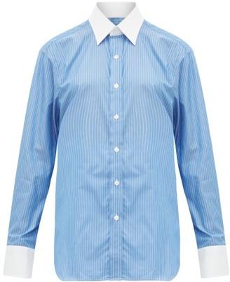 Emma Willis Pinstriped Cotton Shirt - Womens - Blue White