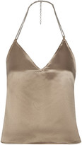 Barbara Casasola Chain-trimmed Silk-satin Halterneck Top - Mushroom
