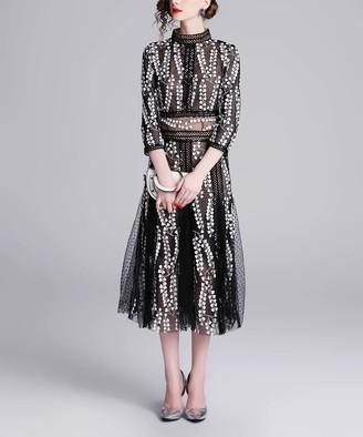 Coeur de Vague Women's Special Occasion Dresses Black - Black Mesh-Contrast Embroidery-Accent Midi Dress - Women