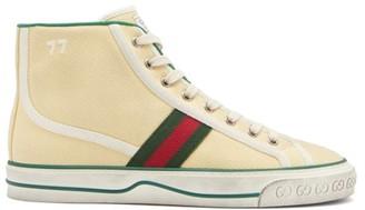 Gucci Tennis 1977 Web-stripe Canvas High-top Trainers - Cream Multi