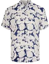 Topman Cream and Navy Floral Print Viscose Short Sleeve Casual Shirt