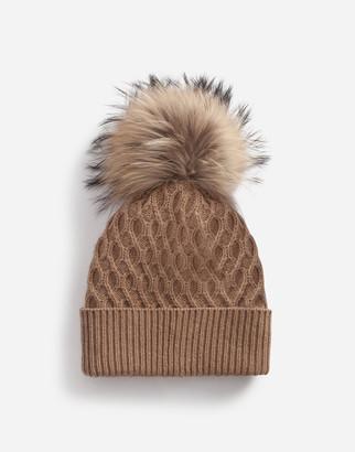 Dolce & Gabbana Woolen Hat With Fur Pom Pom