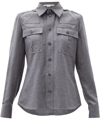 Stella McCartney Flap-pocket Wool-blend Flannel Shirt - Grey