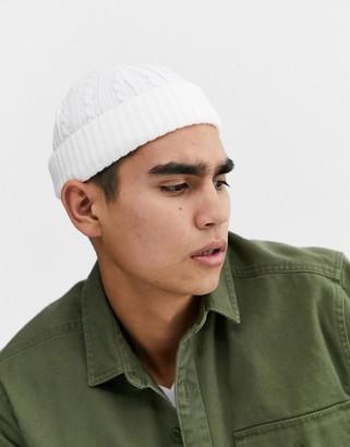 Asos DESIGN mini fisherman beanie in white cable knit