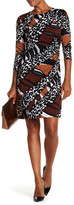 Donna Morgan 3/4 Length Sleeve Printed Ruched Dress