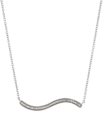 Carriere Sterling Silver Pave Diamond Wavy Pendant Necklace - 0.09 ctw