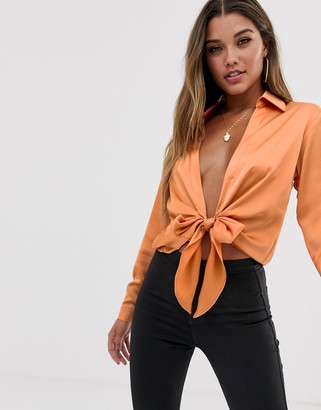Asos Design DESIGN long sleeve tie front deep plunge shirt-Tan