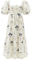 Thumbnail for your product : Self-Portrait Puff-sleeve Floral-print Taffeta Dress - Ivory Multi