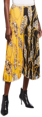 Loyd/Ford Animal & Chain Print Two-Way Pleated Chiffon Skirt