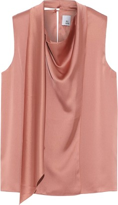 Iris & Ink Luna Wrap-effect Draped Satin-crepe Top