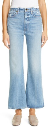 KHAITE Distressed Flare Leg Jeans