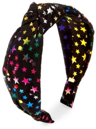 Bari Lynn Rainbow Star-Print Swarovski Crystal-Embellished Knot Headband
