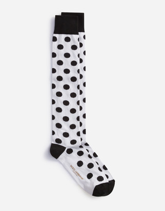 Dolce & Gabbana Stretch Cotton Jacquard Socks With Large Polka-Dots