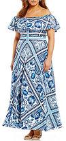 Eliza J Plus Off-the-Shoulder Ruffle Printed Maxi Dress