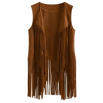 Lazzboy Women Vest Waistcoat Suede Tassel Solid Boho Casual Loose Lapel Cool Ethnic Newchic Short Sleeveless Jacket Cardigan (XL(12)