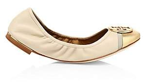 Tory Burch Women's Minnie Cap-Toe Leather Ballet Flats