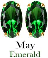 AFFY 6x4mm Oval Cut Simulated Emerald Stud Earrings in 14k Yellow Gold Over Sterling Silver