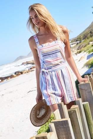 Next Womens Stripe Linen Blend Playsuit
