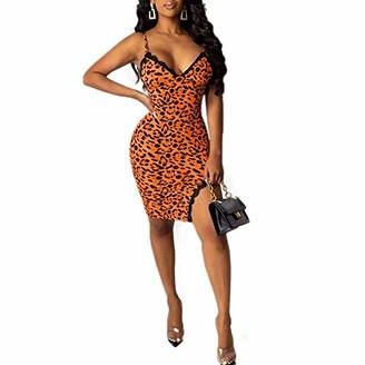 suanret Women's One-Piece Midi Dress Annstar Women Sexy Snakeskin Print Leopard Strappy Sleeveless Slim Pencil Party Club Evening Dress Summer Mini Dress (L