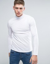 Lindbergh Long Sleeve Top With Turtleneck In White