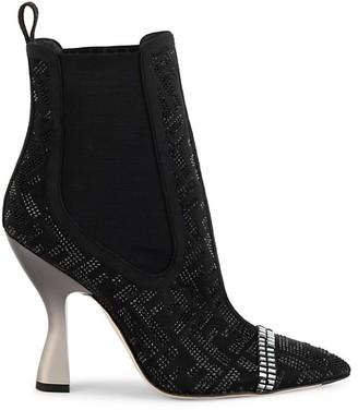 Fendi Crystal-Embellished Logo Ankle Boots