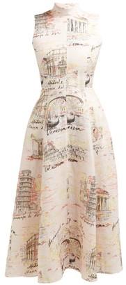 Emilia Wickstead Sheila Italy-print Midi Dress - Pink Print