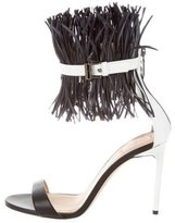 Reed Krakoff Feather-Accented Leather Sandals
