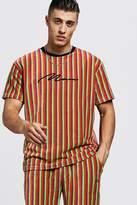 BoohooMAN MAN Signature Velour Stripe T-Shirt & Short Set