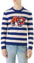 Gucci Stripe Tiger Wool Crewneck Sweater