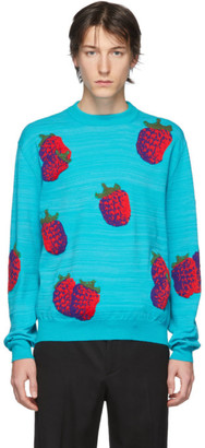 Acne Studios Blue Jacquard Raspberry Sweater