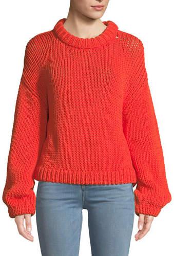 Tibi Tube Yarn Cropped Pullover Sweater