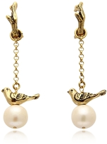 Alcozer & J Treasure Goldtone Brass and Glass Pearls Earrings