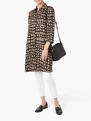 Hobbs Aubery Button Up Shirt Dress, Black/Gold