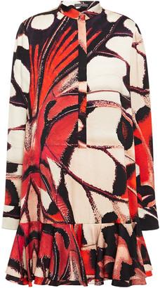 Alexander McQueen Ruffled Printed Silk-satin Mini Dress