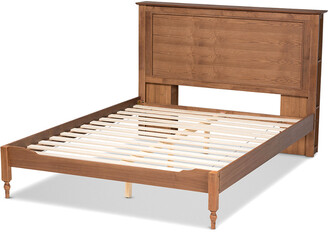 Baxton Studio Danielle Traditional & Transitional Rustic Wood Full Size Platform Storage Bed W/Built-In Shelves