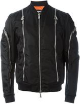 DSQUARED2 zip trim bomber jacket - men - Cotton/Calf Leather/Polyamide/PVC - 50