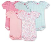 Petit Bateau Set of 5 baby girls plain/printed bodysuits