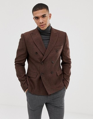 Asos Design DESIGN slim double breasted cropped herringbone wool mix blazer in rust-Tan