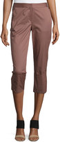 Kaufman Franco Skinny-Leg Wide-Cuff Pants, Burnt Rose