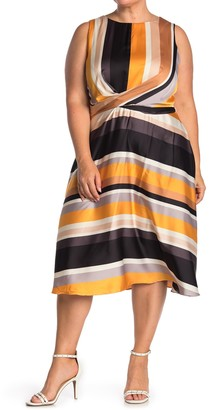 London Times Striped Sleeveless Tie Waist Fit & Flare Dress (Plus Size)