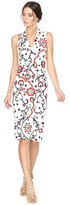 Alice + Olivia Jacki Embroidered V-Neck Dress