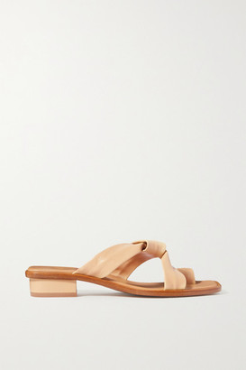 LOQ Pau Knotted Leather Sandals - Pastel yellow