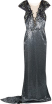 Marchesa Embellished Tulle Gown - Navy