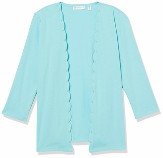 Rafaella Women's Petite Solid Scallop Edge 3/4 Sleeve Cardigan