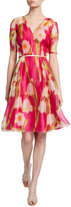 Carolina Herrera Floral Print Chiffon 1/2-Sleeve Dress