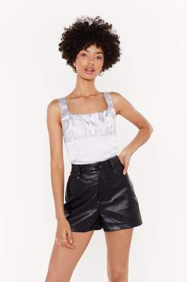 Nasty Gal Womens Satin Ruched Bust Bodice Top - Grey - 6