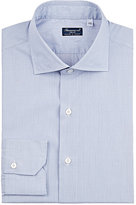 Finamore Men's Micro-Checked Cotton Dress Shirt-NAVY