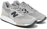 New Balance 998 Suede And Shell Sneakers - Gray