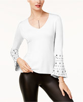 INC International Concepts Petite Embellished Bell-Sleeve Sweater, Created for Macy's